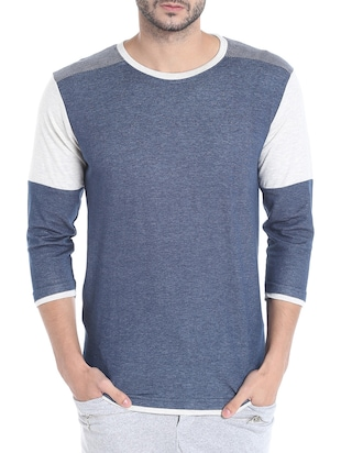 color block cotton t-shirt -  online shopping for T-Shirts