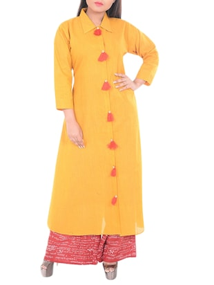 yellow cotton shirt collar kurta