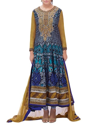 blue silk flared unstitched suit