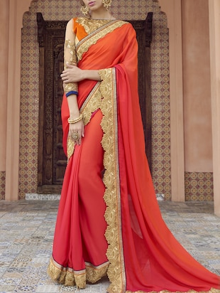 pink satin bordered saree
