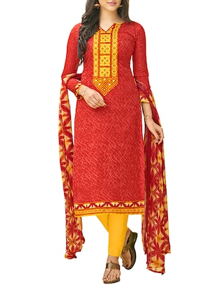 red cotton churidaar suits dress material