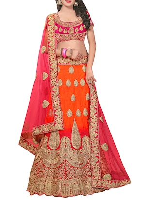 red silk embroidered flared lehenga