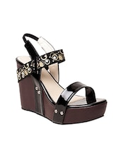 black pvc back strap wedges -  online shopping for wedges