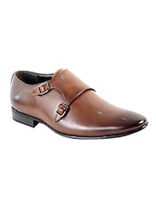 tan Leather slip on monk strap -  online shopping for Monk Straps