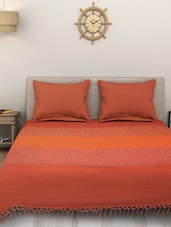 Yarn Dyed Cotton King Size Handloom Orange Bed Spread ( Without Pillow Cover ) -  online shopping for bed covers