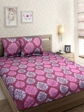 Cotton Floral Printed Maroon Color Double Bed Sheet with Two Pillow Cover -  online shopping for bed sheet sets