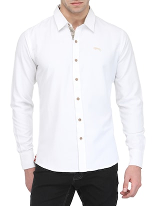 white cotton blend casual shirt