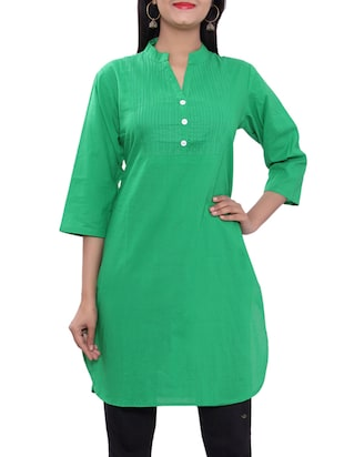 green cotton straight kurti