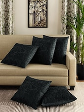Romee Black Set Of 5 Cotton Cushion Cover - By