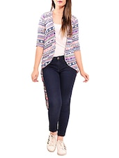 multi colored printed high low shrug -  online shopping for Shrugs
