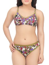 multicolored printed cotton bra and panty set -  online shopping for bras and panty set