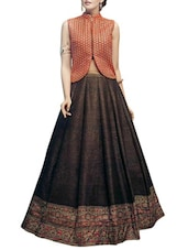 brown raw silk flared lehenga -  online shopping for lehengas