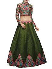 green raw silk printed flared lehenga -  online shopping for lehengas