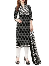black printed churidaar suits unstitched suit -  online shopping for Unstitched Suits