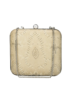 Ivory embellished silk clutch