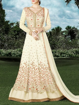 white art silk embroidered dress material