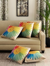 Romee Set Of 5 Polyester Floral Printed Cushion Cover -  online shopping for Cushion Covers