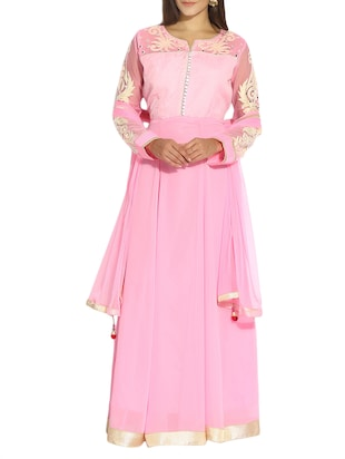 pink georgette anarkali semi-stitched suit