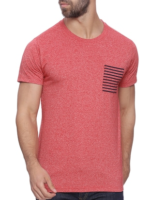 red melange cotton t-shirt