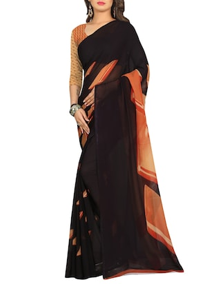 black georgette printed saree