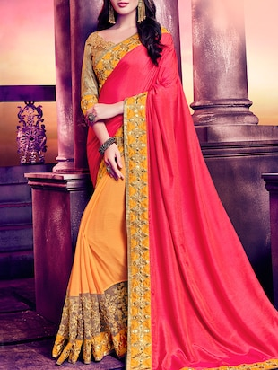 pink & orange chiffon half & half saree
