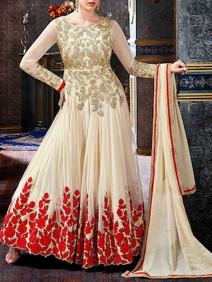 beige georgette semi-stitched suit