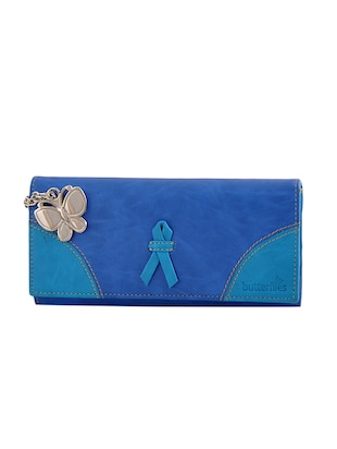 blue leatherette regular clutch