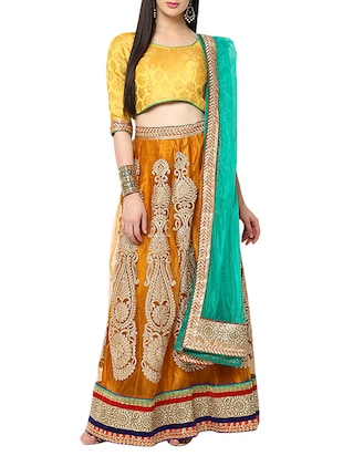 orange embroidered flared lehenga
