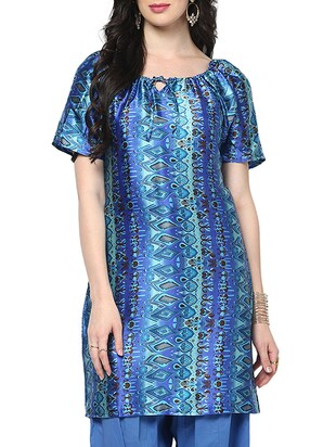 blue polyester straight kurta