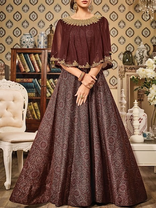 brown silk embroidered flared semi-stitched suit
