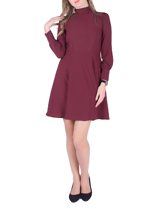 maroon crepe skater dress