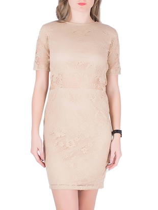 beige net bodycon dress
