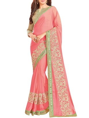 pink embroidered crepe saree