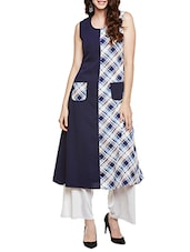 Blue Poly Crepe Printed A-line Kurta - By