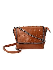 brown leatherette structured sling bag -  online shopping for sling bags