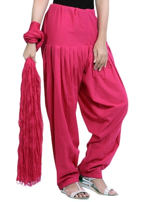pink cotton patiyala salwar with dupatta