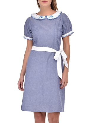 blue cotton belted dress
