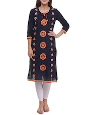 Blue Cotton Embroidered Straight Kurta - By