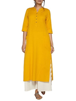 yellow cotton solid long kurta