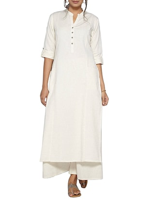white cotton solid long kurta
