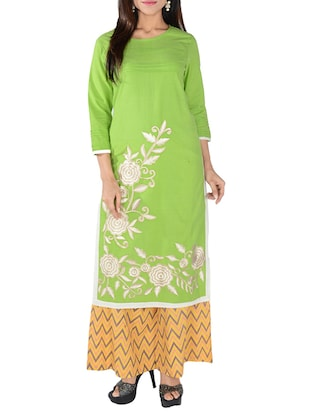 green cotton blend straight kurta