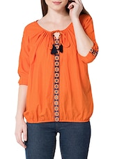 orange cotton balloon top -  online shopping for Tops