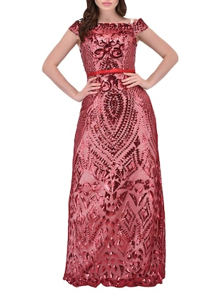 maroon satin gown dress