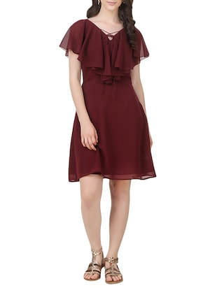 maroon georgette ruffle dress