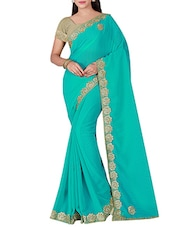 green chiffon bordered saree -  online shopping for Sarees