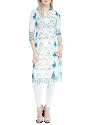 white and blue cotton printed straight kurta