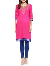 Pink Poly Cotton Straight Kurta - By