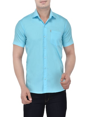 light blue cotton casual shirt -  online shopping for casual shirts