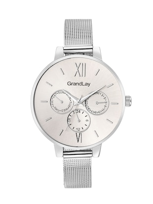 Grandlay ct-2036 silver  dial round designer watch for women -  online shopping for Wrist watches