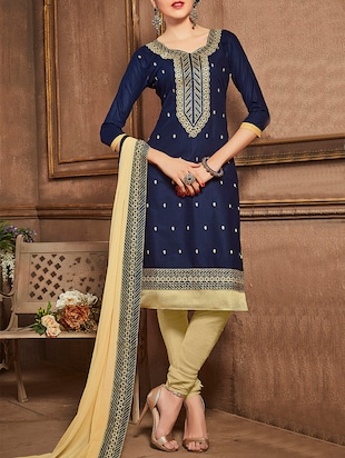 blue cotton embroidered churidaar suit dress material